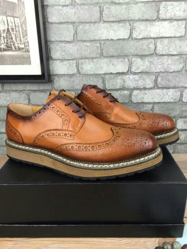 PRADA 普拉达休闲鞋,布洛克风格商务正装鞋