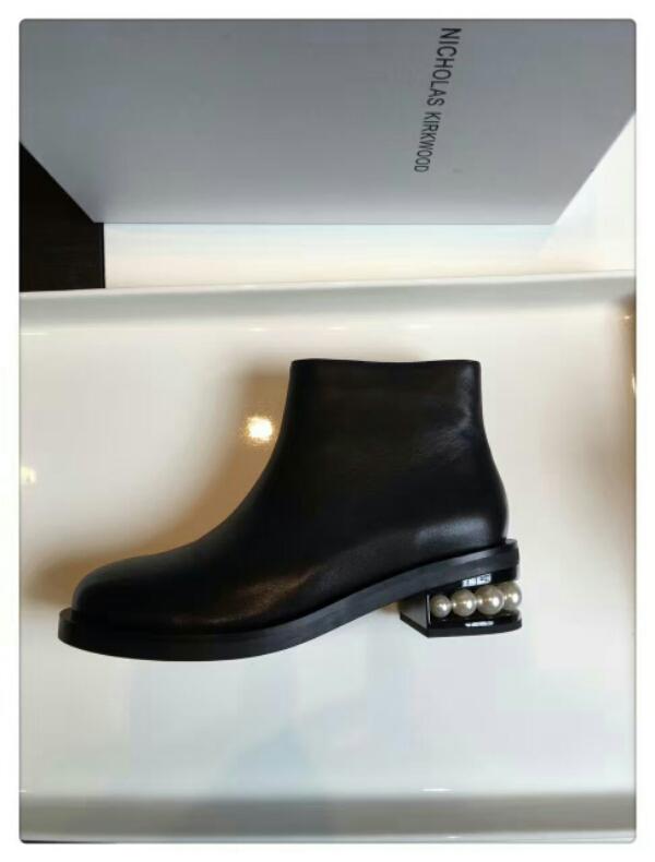 ICHOLAS KIRKWOOD后跟珍珠跟短靴 真皮靴子批发