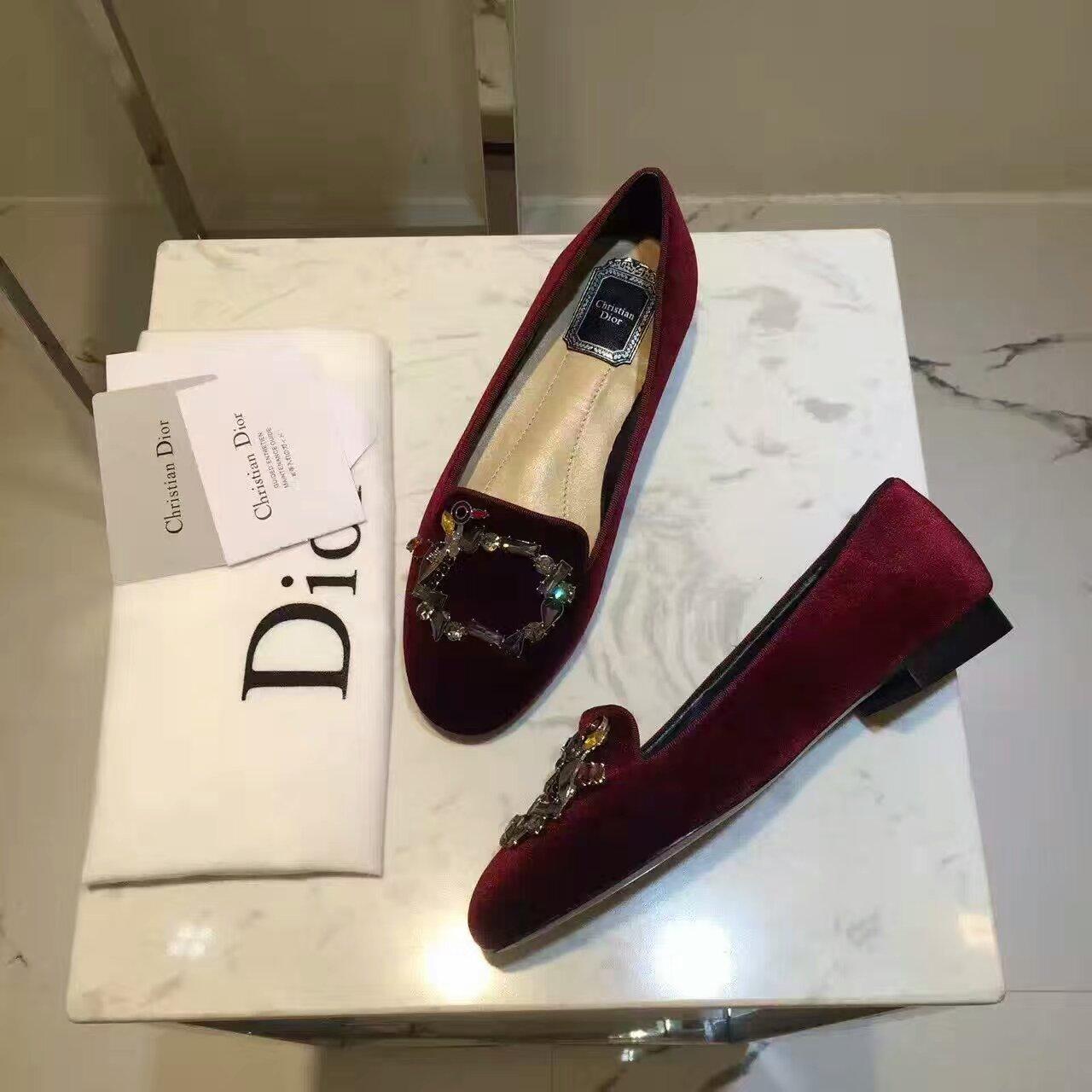 Dior/迪奥16秋冬闪钻花园系列一脚蹬平底单鞋