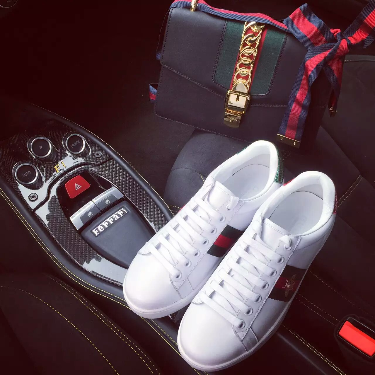 Gucci /古驰16刺绣织带小白鞋_休闲鞋