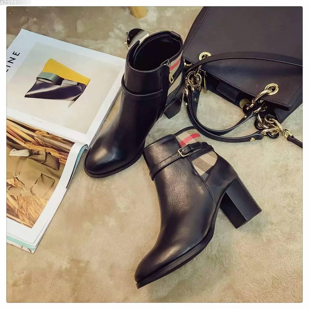 2016新款Burberry博柏利原厂舒适高跟短靴