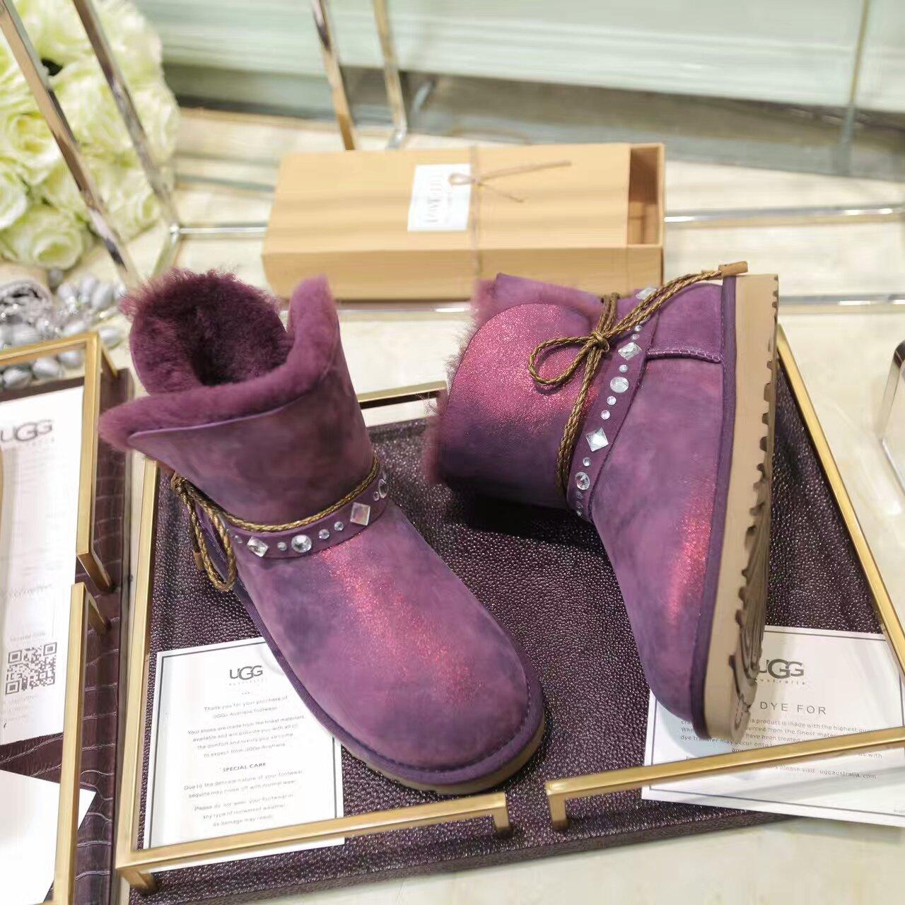 【UGG】邓紫棋3代羊皮毛一体防水云烟布纹系列雪地靴