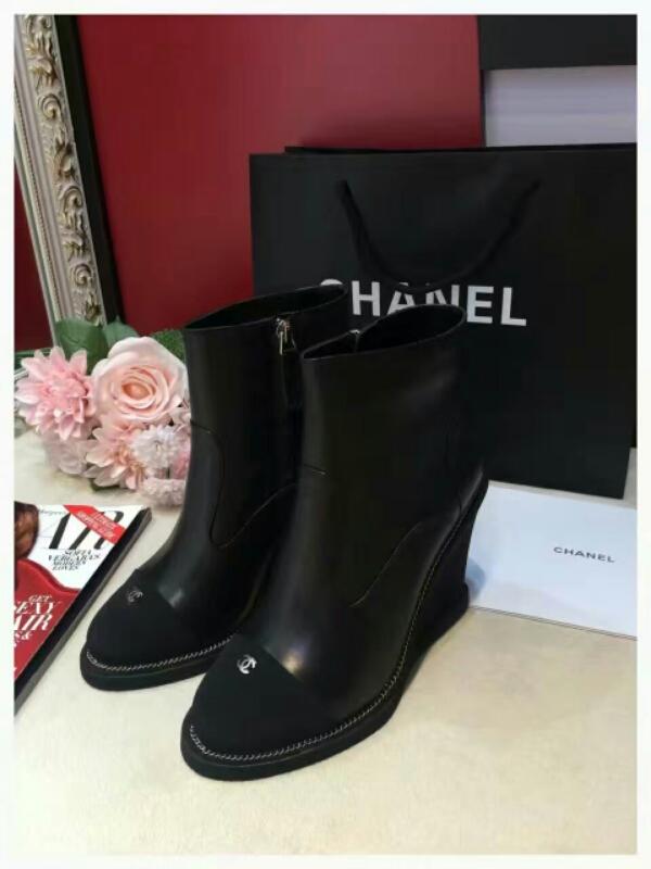 CHANEL 2016秋冬香奈儿专柜最新款坡跟短靴