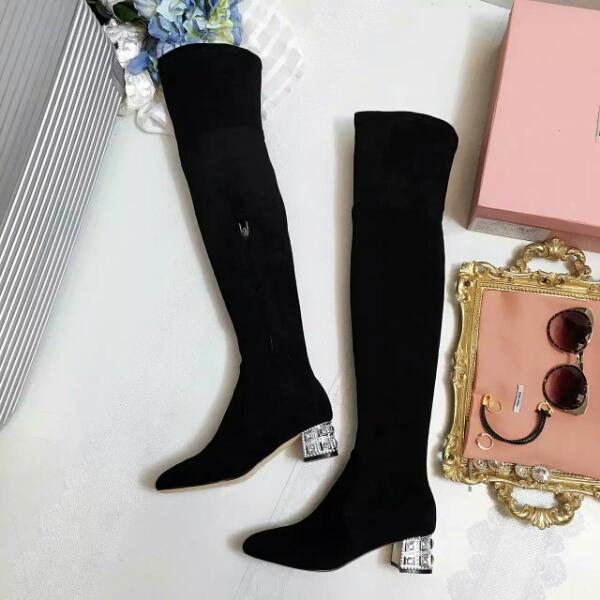 Miumiu 16AW巴黎耶纳宫秀款高筒靴!最美水钻过膝长靴!