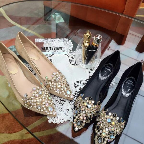 RENE CAOVILLA RC 2016最新款蕾丝镶嵌珠宝高跟鞋