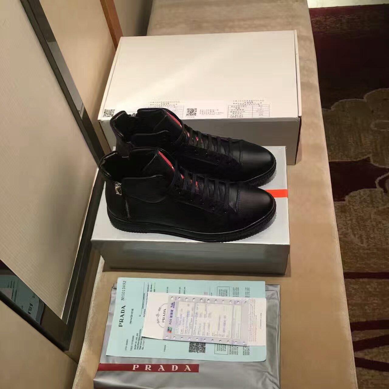 【PRADA】普拉达男士高帮鞋 外贸原单跟单货 品质大咖来袭