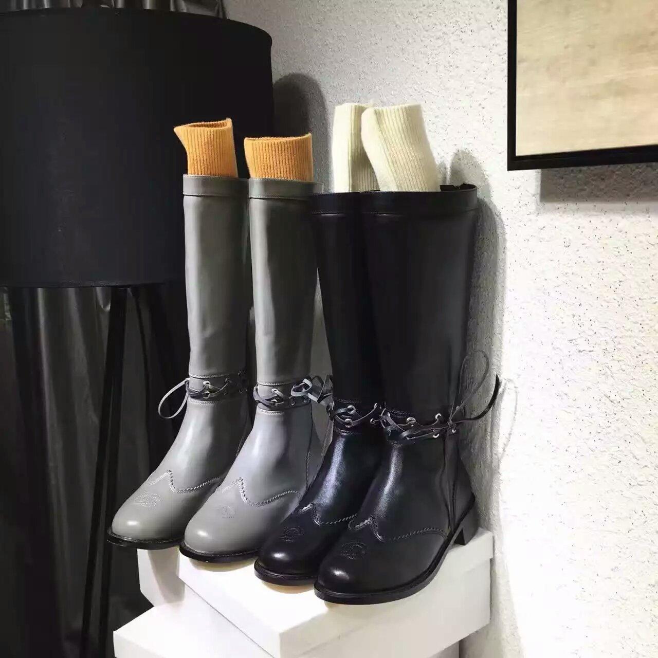 Chanel(香奈儿)16秋冬新款系带镂空直筒靴 宋茜同款长靴