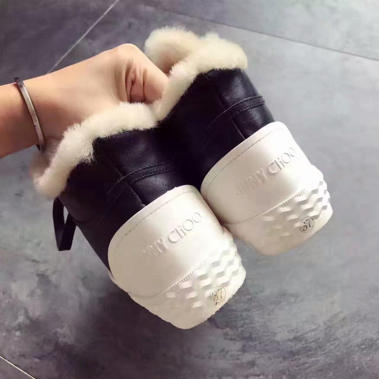JIMMYCHOO 雪地靴!高端品质 牛皮与帆布拼接 全羊毛里