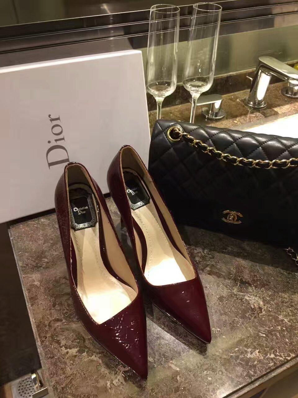 代购顶级版本 Dior 16ssHK专柜秋冬新款马蹄跟高跟单鞋 专柜同步发售