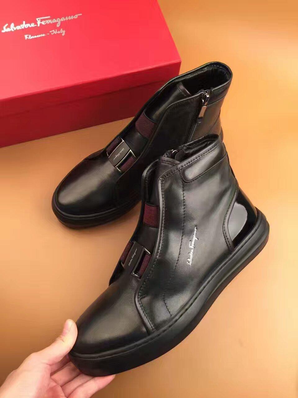 菲拉格慕 Ferragamo2016新款男士秋冬高帮休闲鞋