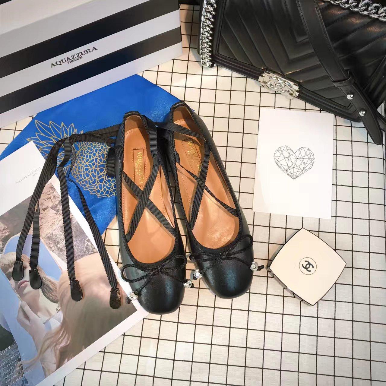 【AQUAZZURA单鞋】极致性感的小方头平底单鞋