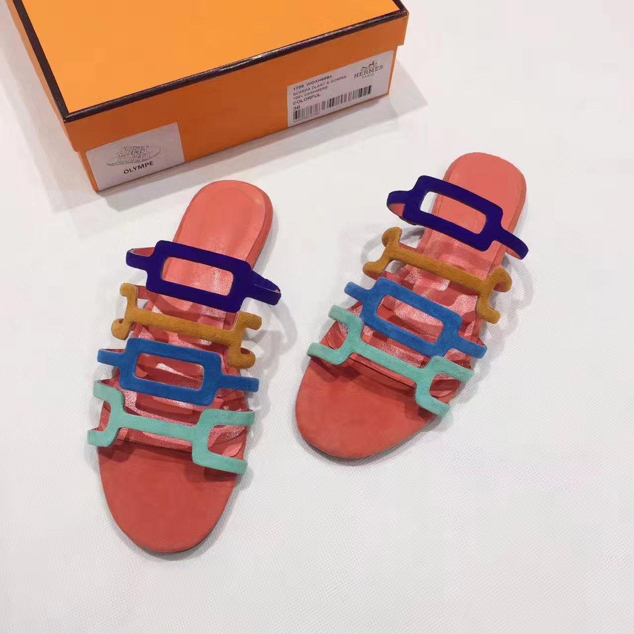 Hermes凉鞋17ss专柜最新款彩虹拖鞋