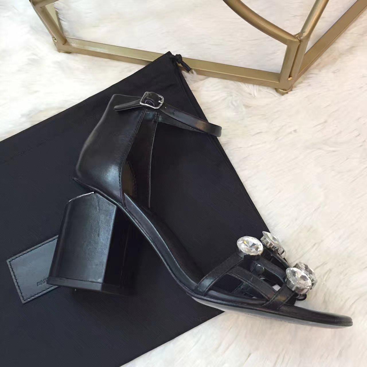 原单【Alexander Wang凉鞋】亚力山大 ·王 2017春夏最新款粗跟凉鞋