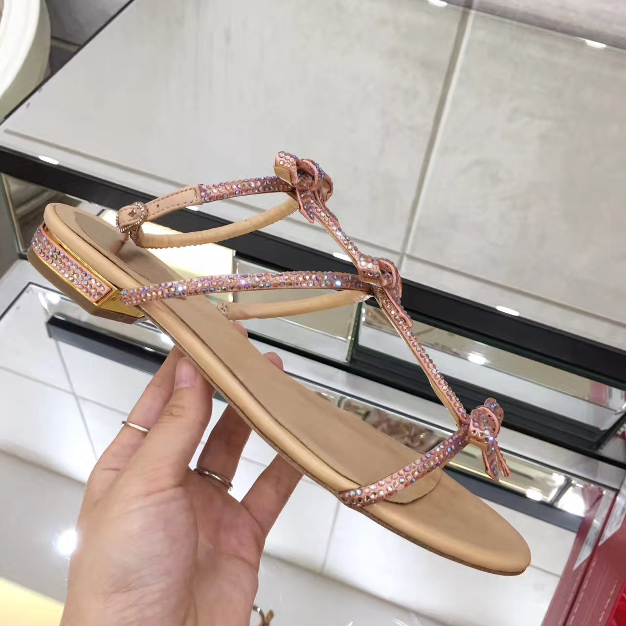 rene caovilla /RC17春夏蝴蝶结水钻平底凉鞋