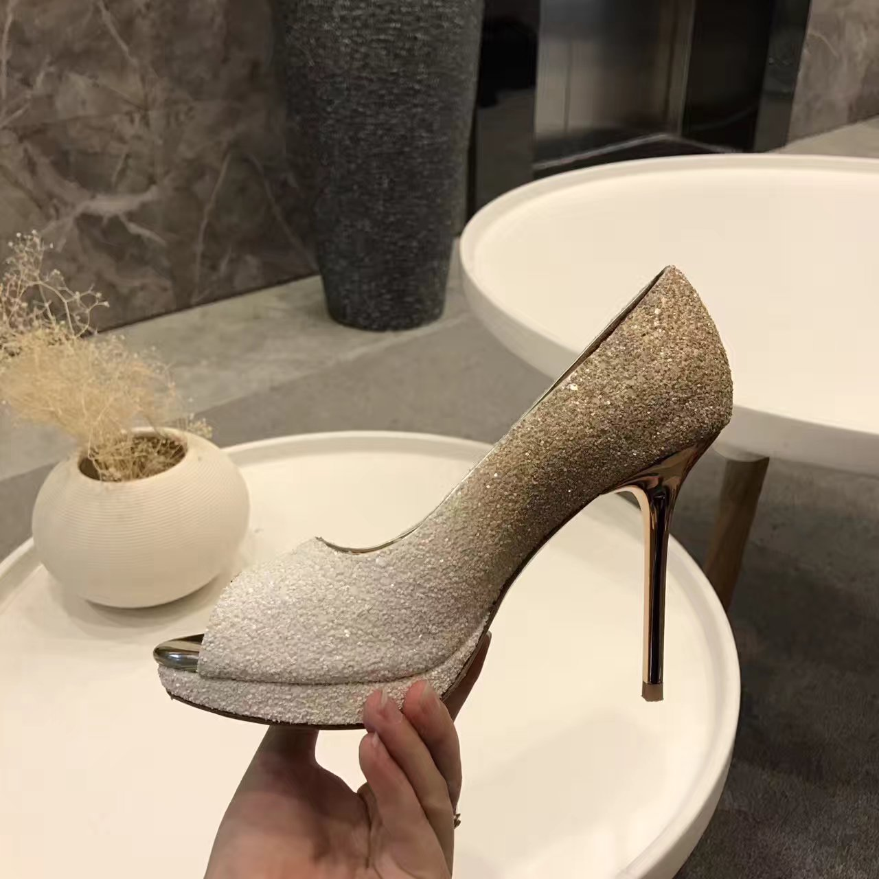 Jimmy Choo亮片单鞋鱼嘴水台性感高跟鞋