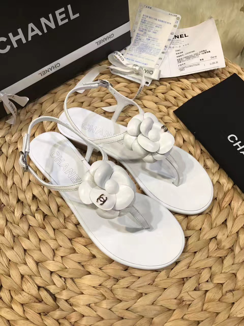 【Chanel香奈儿凉鞋】山茶花珠片凉鞋