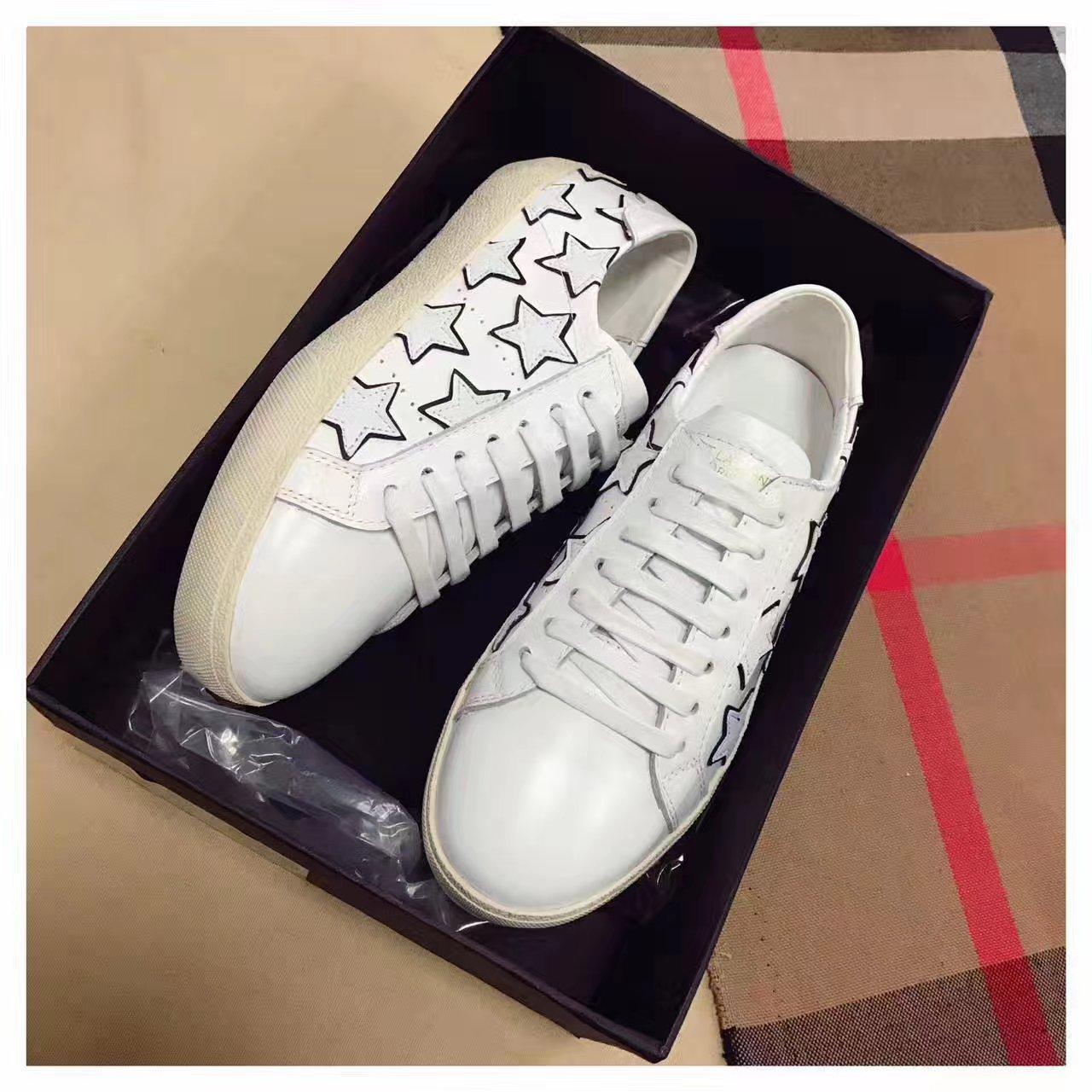 SAINT LAURENT星星小白鞋 专柜同步发售圣罗兰平底休闲鞋