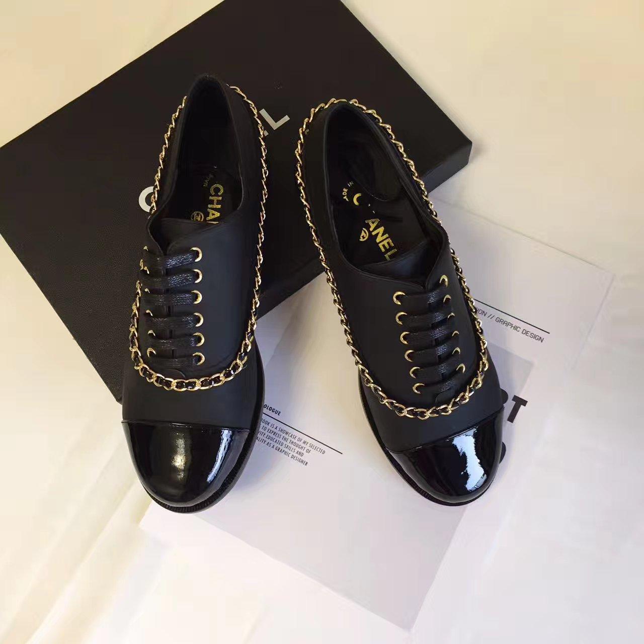 CHANEL新款单鞋 香奈儿休闲鞋 系带链条单鞋
