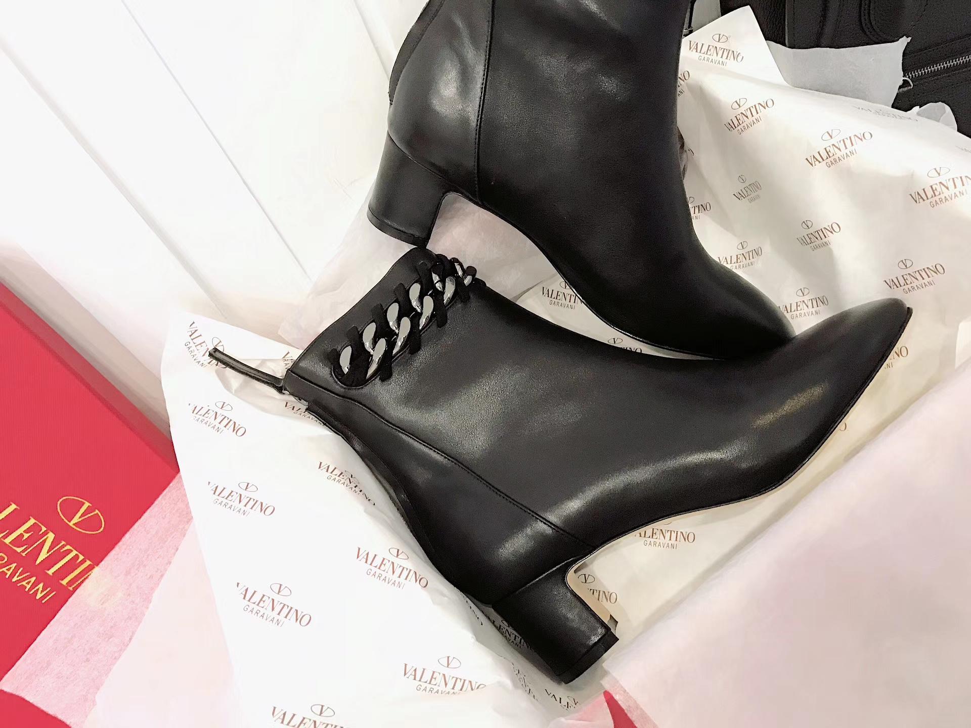 华伦天奴短靴 2017款链条真皮短靴