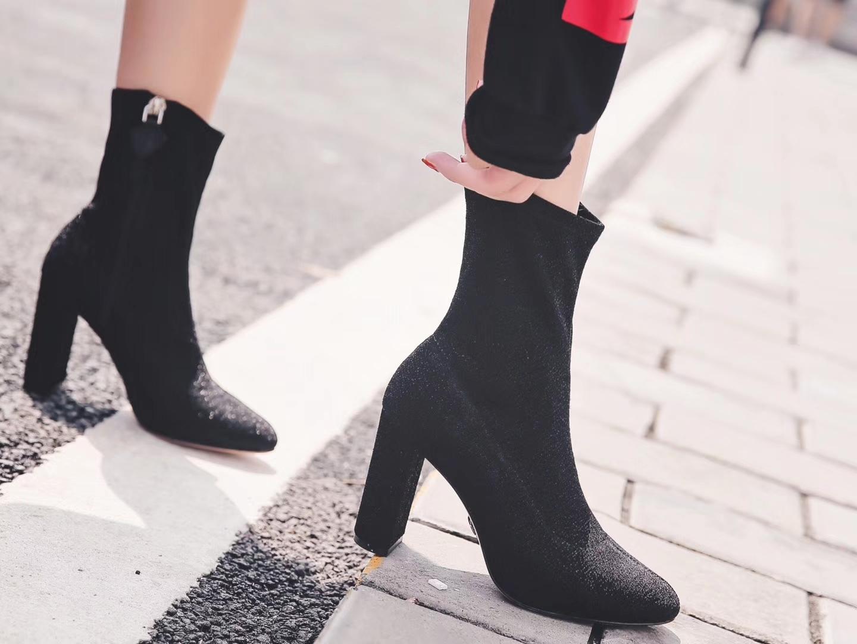 【OSCAR TIYS】 新款短靴 杨幂同款 17年超级火的一款袜子靴