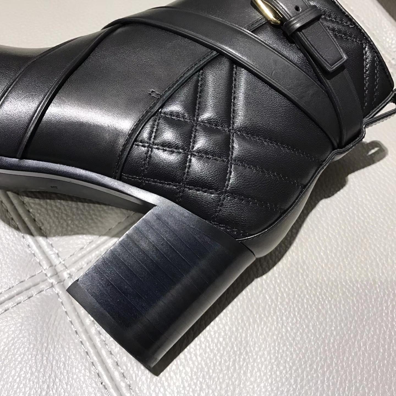 Burberry新款短靴经典博柏利格纹系列真皮短靴