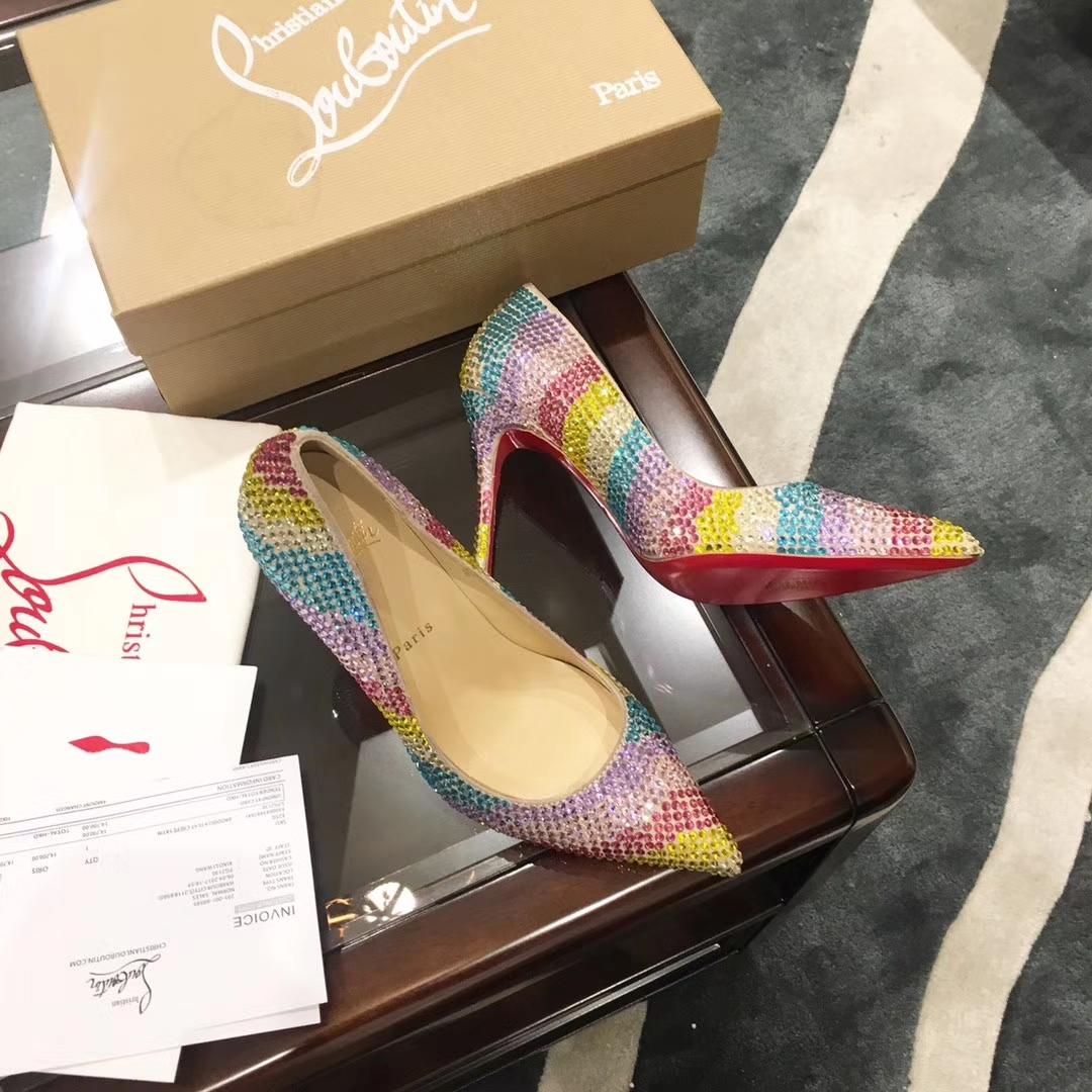 Cl彩钻系列高跟鞋 各大网红热捧走秀款高跟单鞋