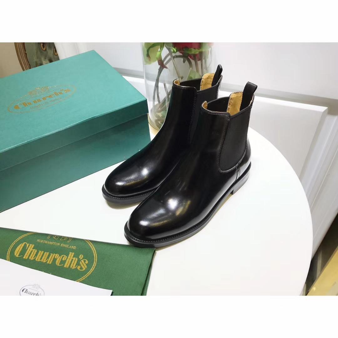 贝嫂杨幂同款Church's短靴经典英伦风手工真皮短靴