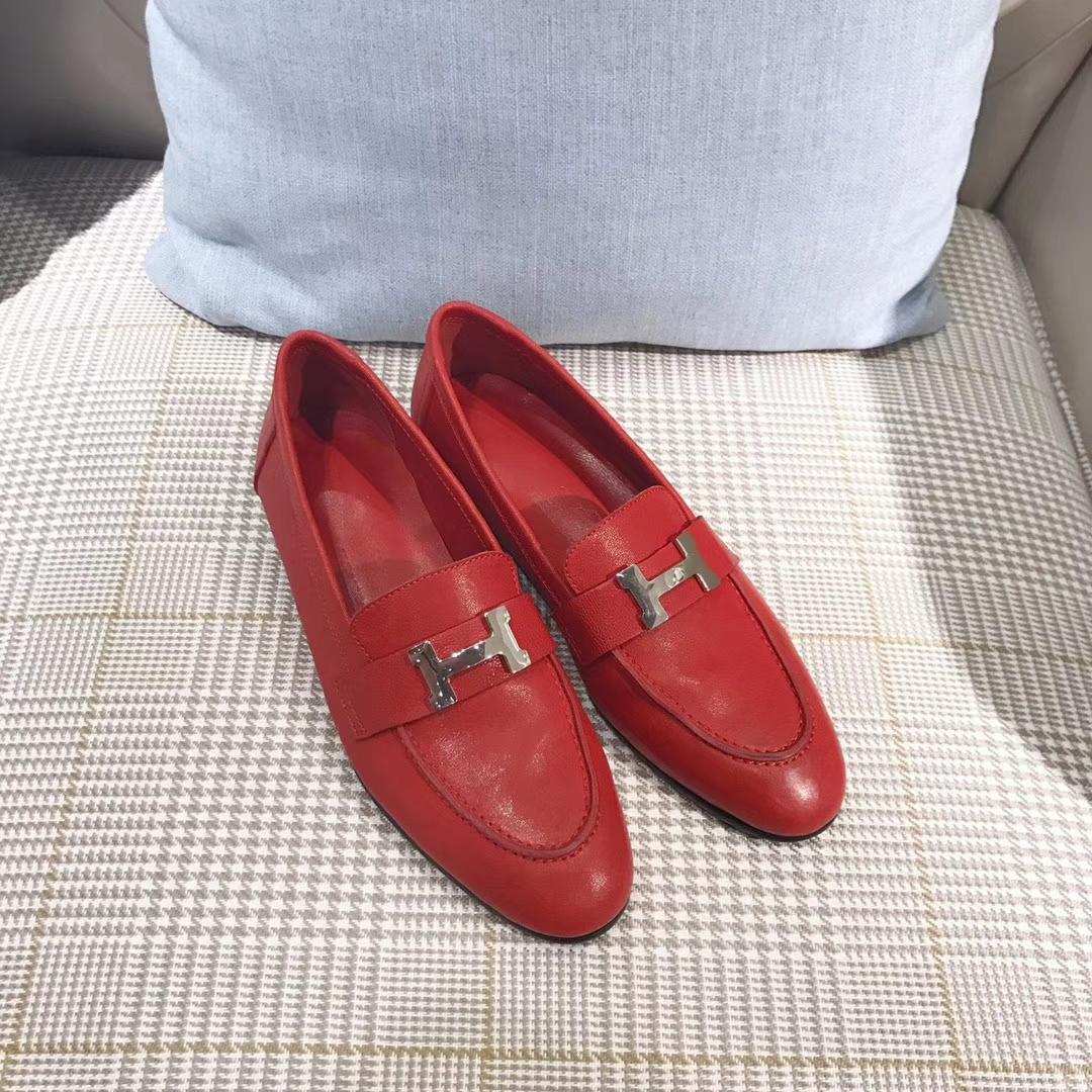 Hermes女鞋单鞋17秋冬新款真皮平底单鞋