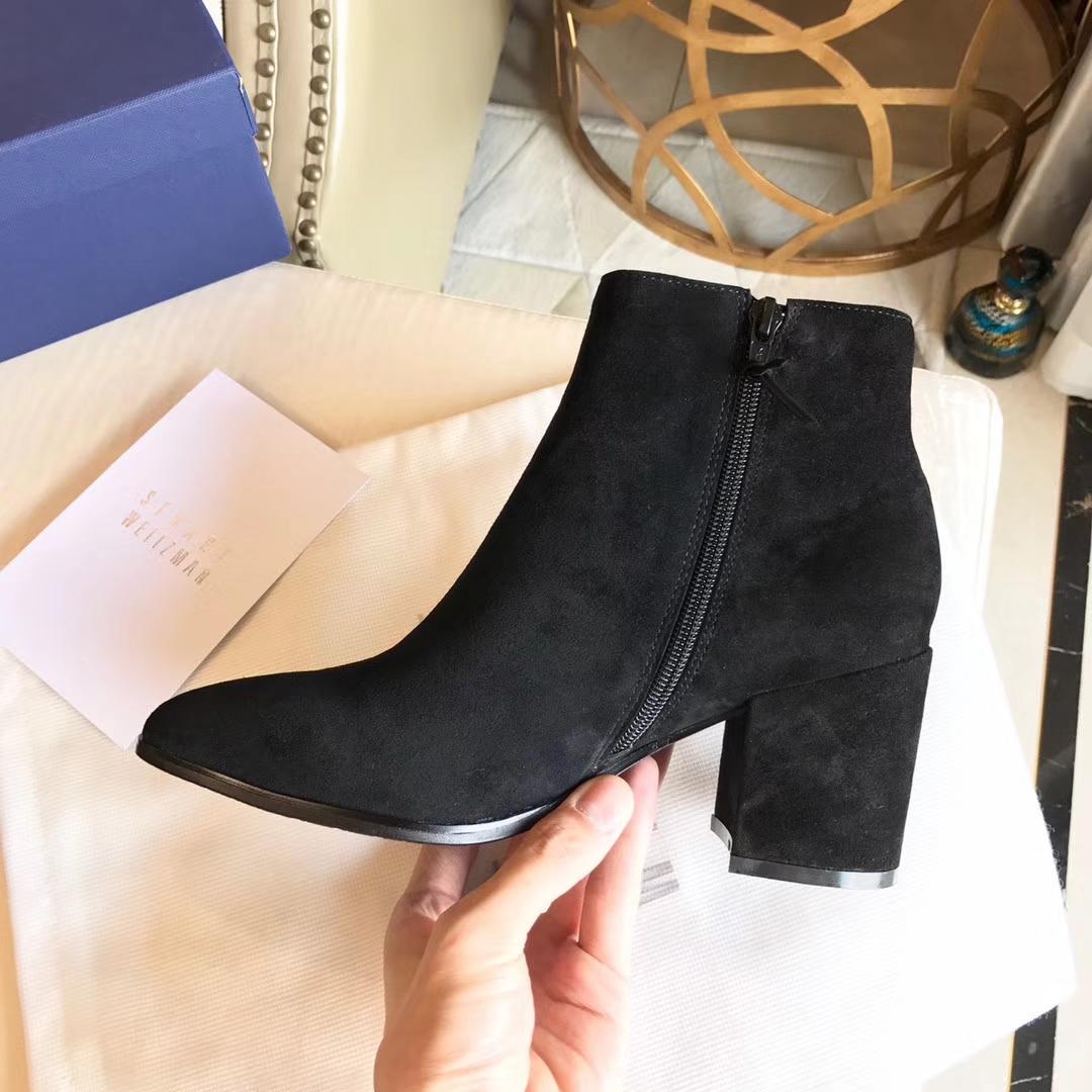 Stuart Weitzman新款真皮短靴/中跟短靴