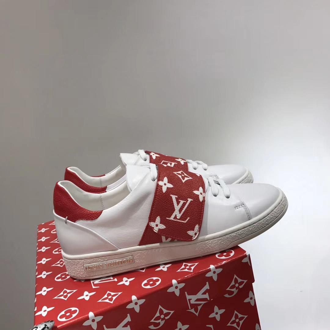 SUPREME X LV联盟款魔术贴复古小白鞋