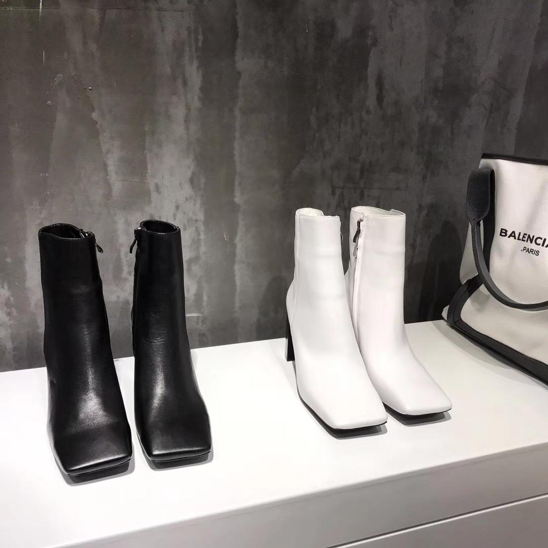 Balenciaga新款短靴2017专柜款高跟真皮短靴