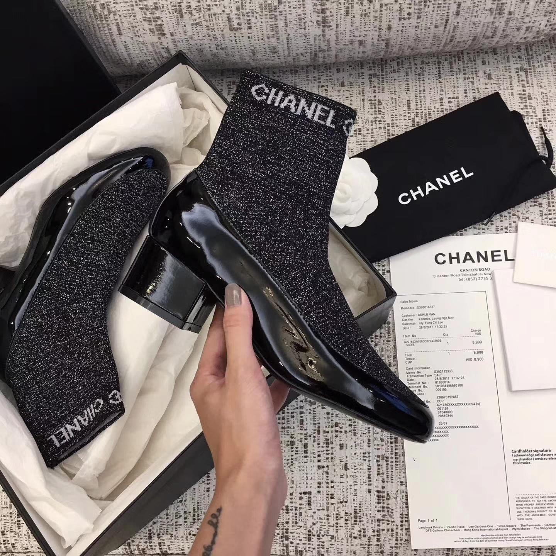【CHANEL】最新弹力短靴17fw专柜最新款
