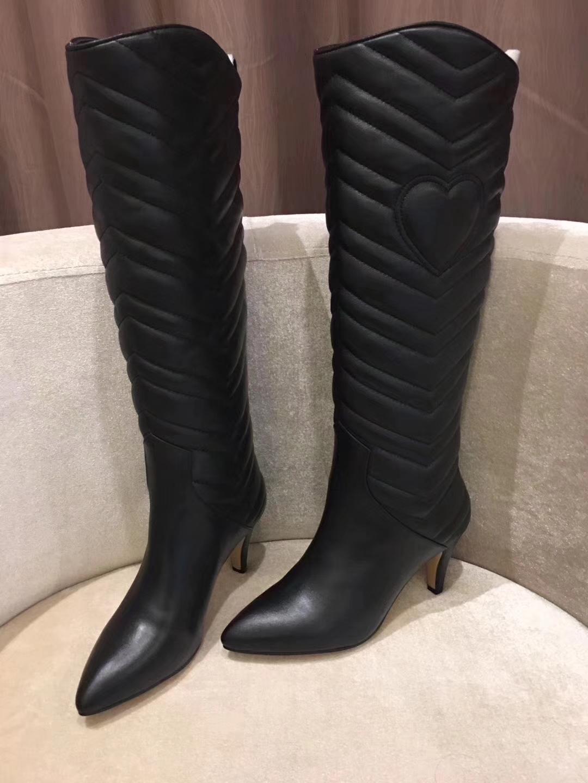 正品代购Gucci新款压花细中跟长靴 尖头长筒靴