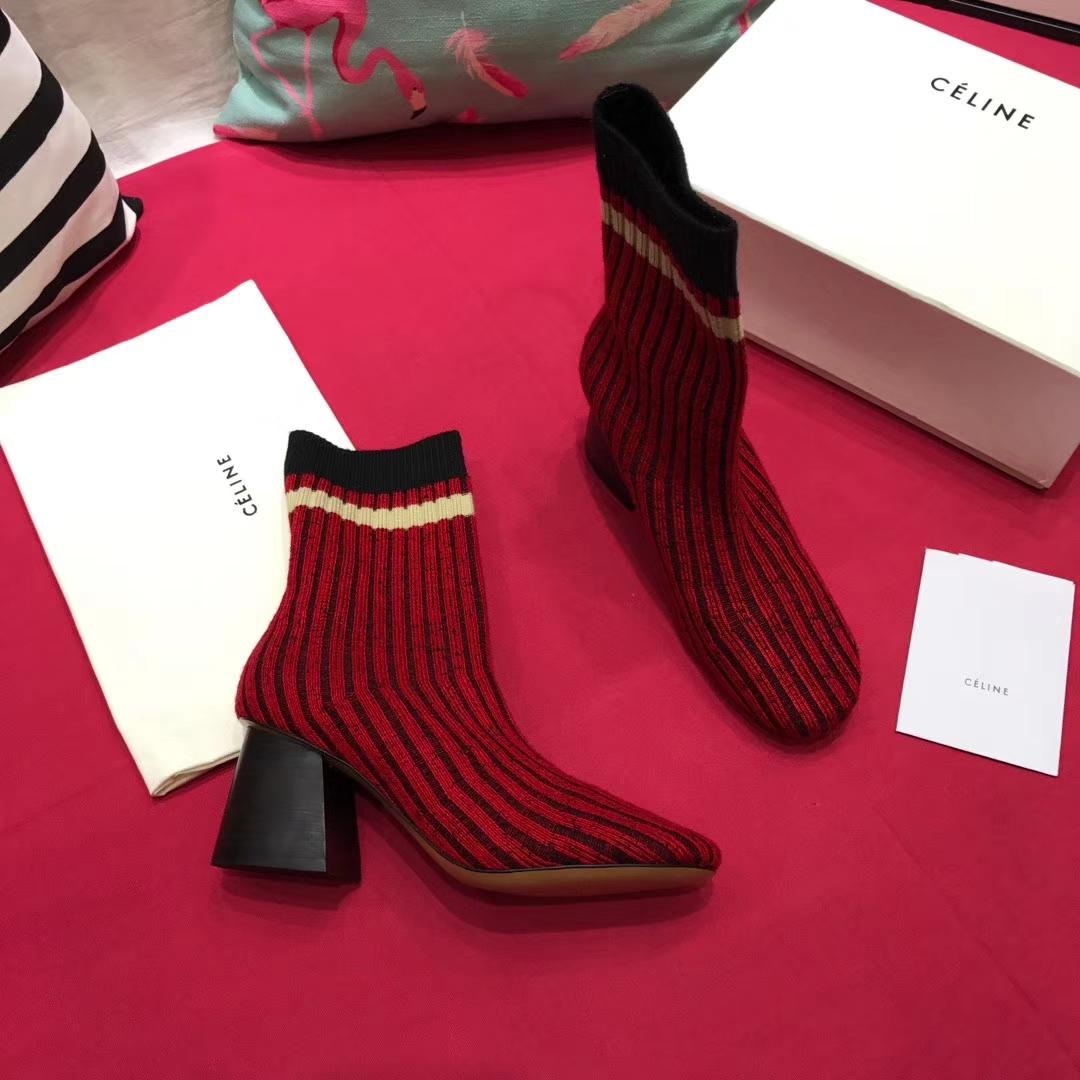 CELINE女靴短靴 2017秋季新色毛线靴