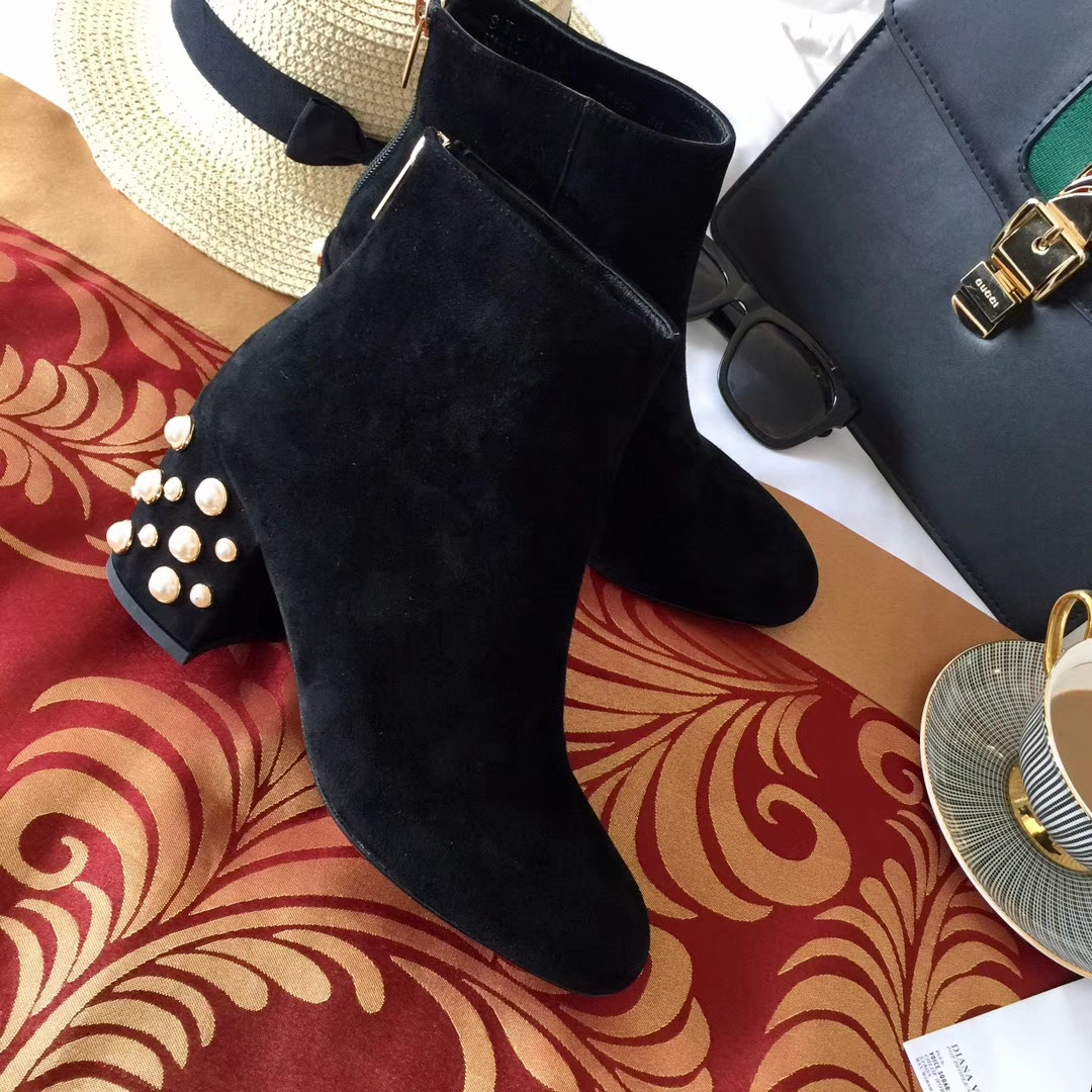 【STUART WEITZMAN】顶级版本女靴SW后拉链粗跟短靴