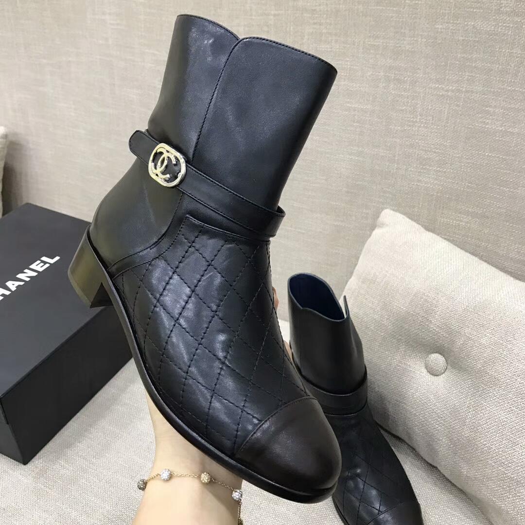Chanel短靴 代购级品质 香奈儿拼色菱格短靴