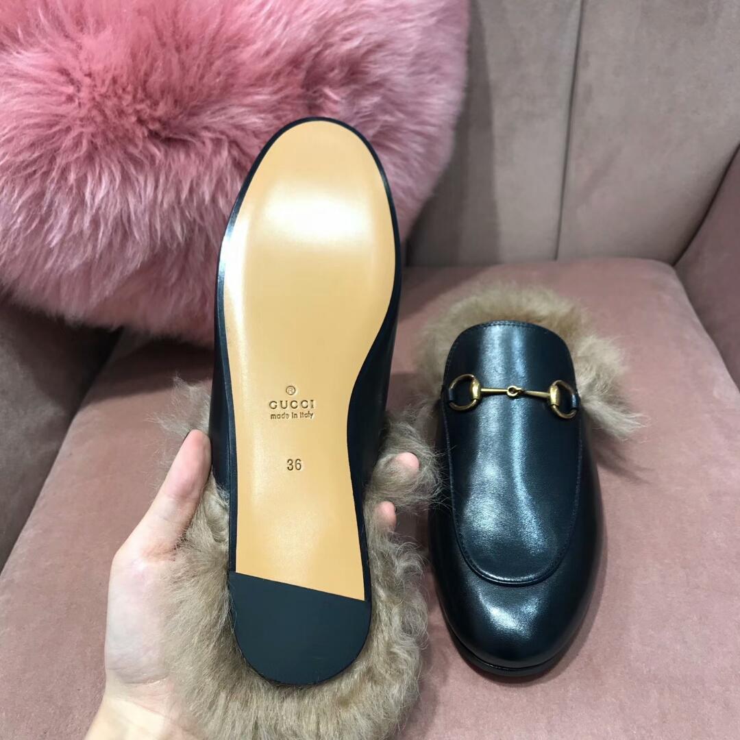 代购级别!Gucci毛拖鞋!古奇女鞋拖鞋