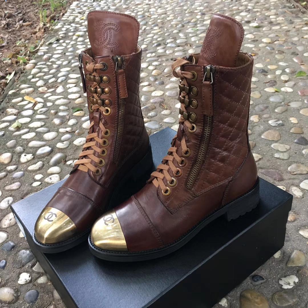 CHANEL香奈儿真皮短靴巴塞尔专柜新款
