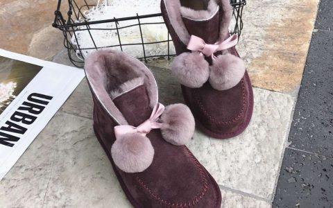 UGG 女士羊皮毛一体 蝴蝶结短筒雪地靴