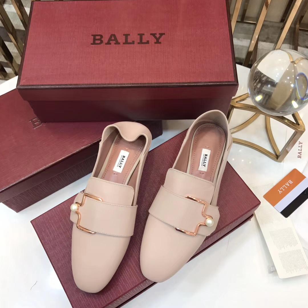 【BALLY】 巴利2018早春新品平底鞋珍珠单鞋