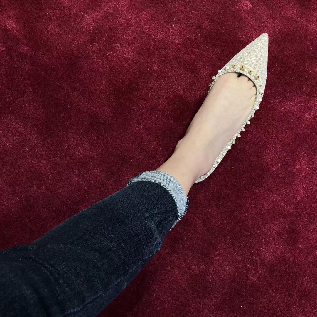 Christian Louboutin 18ss CL银丝格平底单鞋