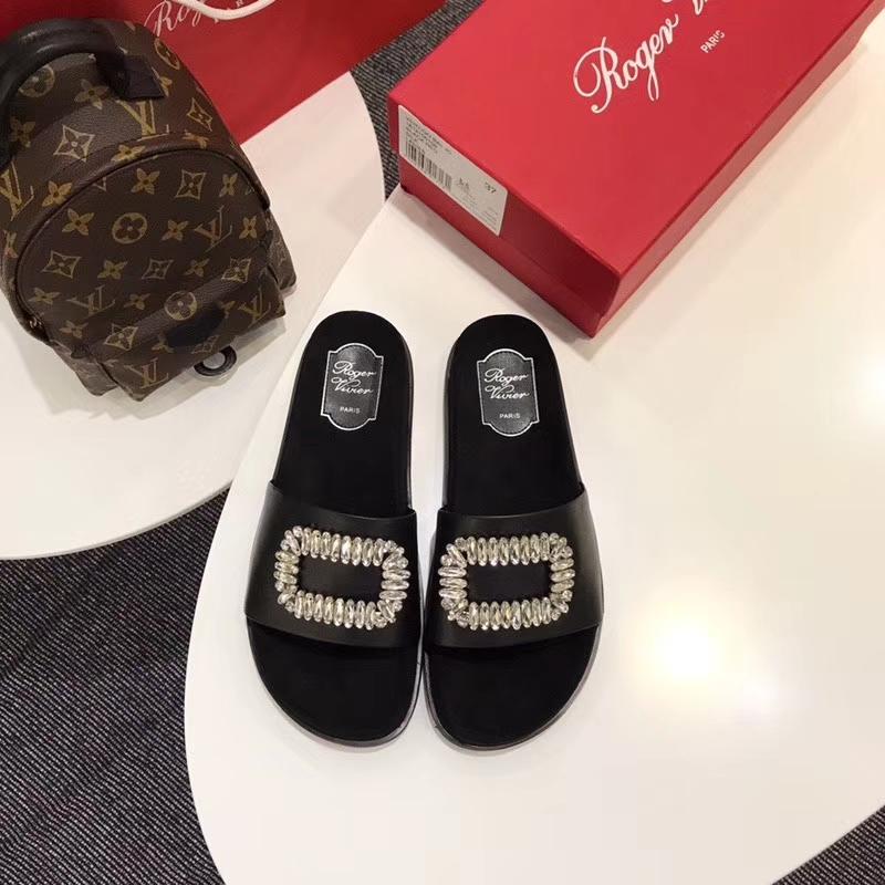 【Roger Vivier 】RV2018夏季新品水钻方扣托鞋