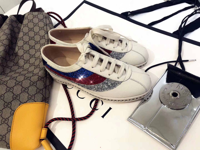 GUCCI超美水钻拼色小白鞋