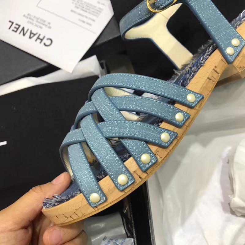 """018新款香奈儿木根凉鞋"""""""