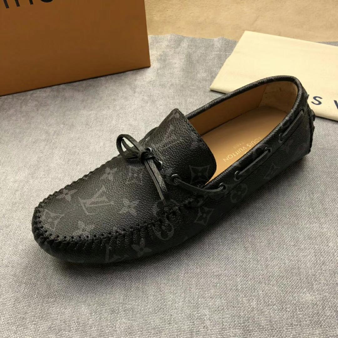 LV男鞋 专柜同款老花皮经典款豆豆鞋
