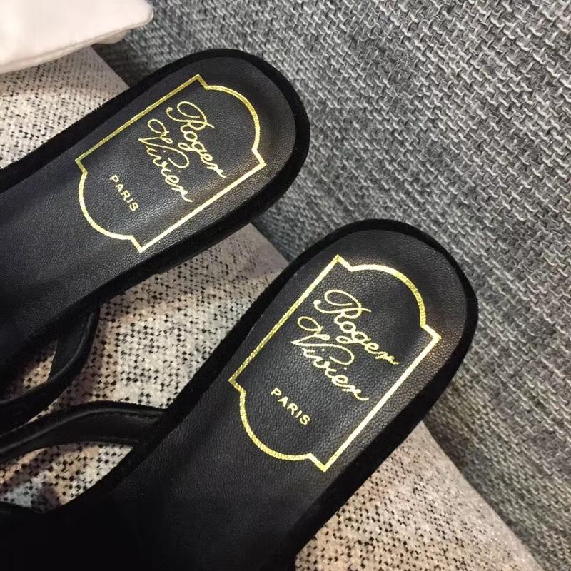 【Roger Vivier女鞋】RV/18ss春夏新款勒穆尖头碎钻天鹅绒半拖鞋