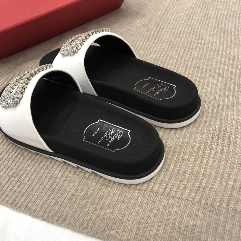 【Roger Vivier】代工品质2018女款水钻方扣拖鞋