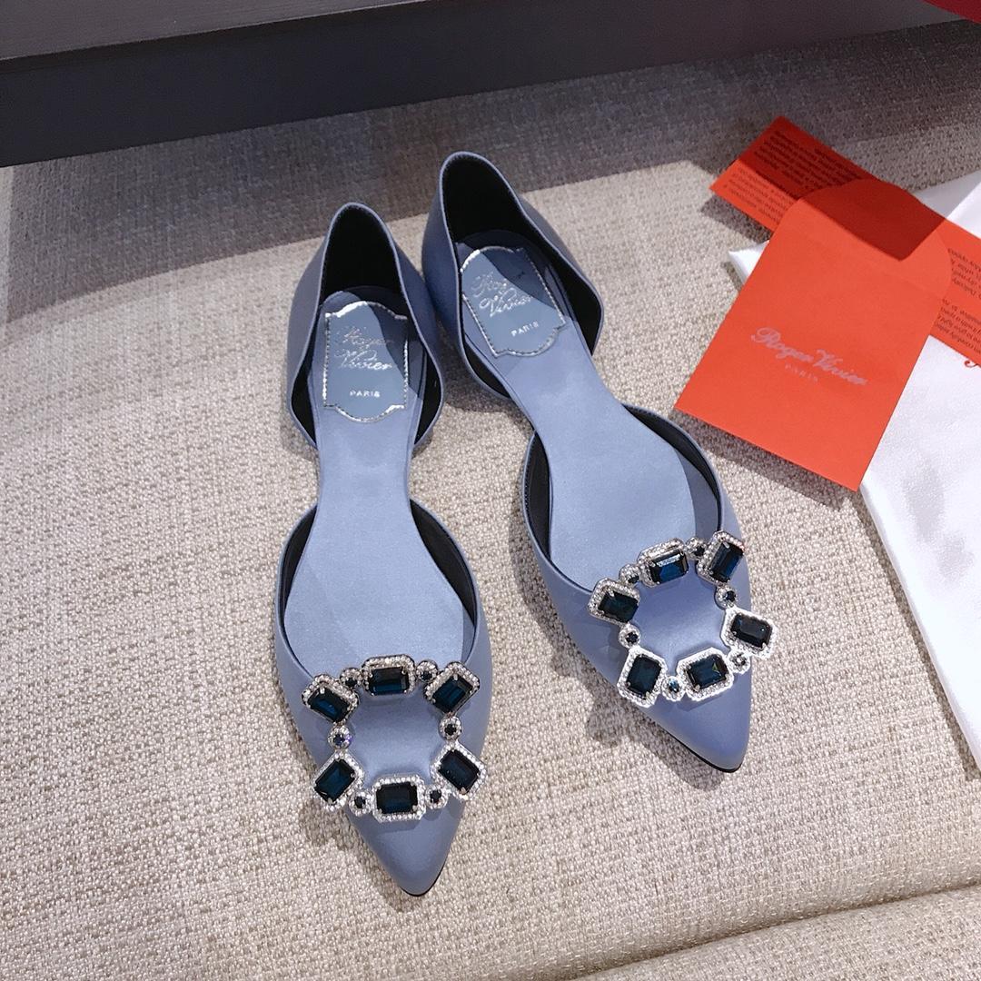 RV女鞋代购 新款方扣真丝系列平底鞋