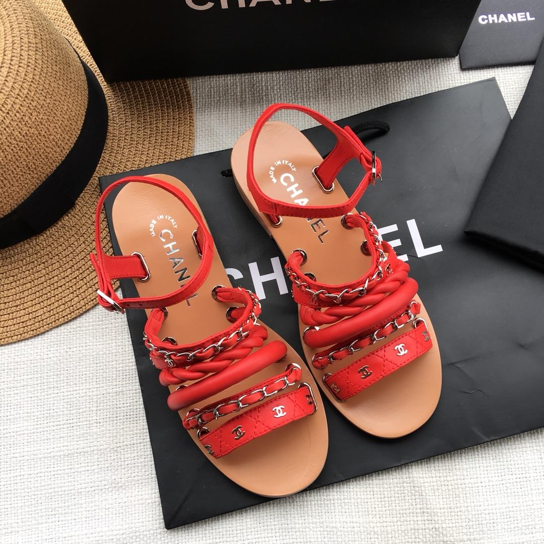 Chanel女鞋代购系列 2018春夏新款编织凉鞋