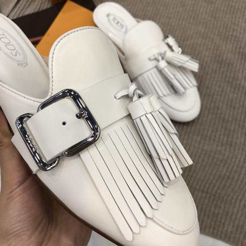 原单【Tods】高端品质经典爆款流苏方扣懒人拖鞋